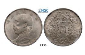 "05.05.2013, Auction 2/ 2335. China, Republic, Yuan (Dollar) ""Fat man"" Year 3 (1914) Silver, NGC MS62"