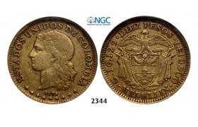 05.05.2013, Auction 2/ 2344. Colombia, Confederation, 1819-, 10 Pesos 1876/5, Medellin, GOLD, NGC VF35