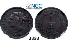 05.05.2013, Auction 2/ 2353. Cyprus, Victoria, 1837-1901, ¼ Piastre 1884, London, Copper, XF45BN