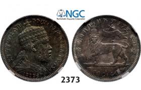 05.05.2013, Auction 2/ 2373. Ethiopia, Menellik II, 1889-1913, ¼ Birr EE1889-A, Paris, Silver , NGC MS62