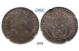 05.05.2013, Auction 2/ 2378. France, Louis XIV, 1643-1715, ½ Ecu 1651-Q, Narbonne, Silver , NGC XF45