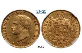 05.05.2013, Auction 2/ 2549. Italy, Kingdom of Napoleon, Napoleon I, 1804-1814, 40 Lire 1812-M, Milan, GOLD, NGC AU53