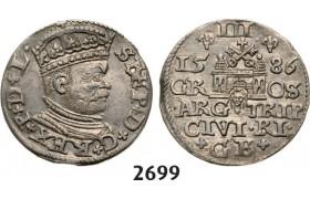 05.05.2013, Auction 2/ 2699. Poland, For Riga, 3 Groschen (Trojak) 1586, Riga, Silver