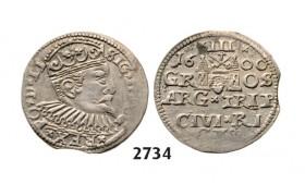 05.05.2013, Auction 2/ 2734. Poland, For Lithuania, 3 Groschen (Trojak) 1600, Riga, Silver