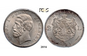 05.05.2013, Auction 2/ 2816. Romania, Carol I, 1866­-1914, 2 Lei 1881­-V, Vienna, Silver, PCGS MS65