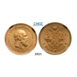 05.05.2013, Auction 2/2921. Russia, Alexander III, 1881-­1894, 5 Roubles (Rubel) 1890 (АГ) St. Petersburg, GOLD, NGC MS62
