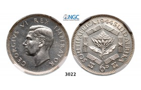 3022. South Africa, Union of South Africa, George VI, 1936-­1952, 6 Pence 1944, Pretoria, Silver, NGC PF63