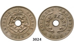 3024. Southern Rhodesia (Zimbabwe), George V, 1910-­1936, Penny 1935, Copper-­Nickel