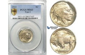 "R521, United States, Buffalo Nickel (5C.) 1913 ""Type II"" PCGS MS63"