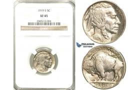 R523, United States, Buffalo Nickel (5C.) 1919-S, San Francisco,  NGC XF45