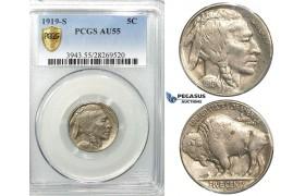 R524, United States, Buffalo Nickel (5C.) 1919-S, San Francisco,  PCGS AU55