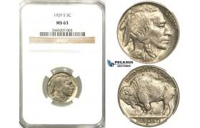 R525, United States, Buffalo Nickel (5C.) 1929-S, San Francisco,  NGC MS63
