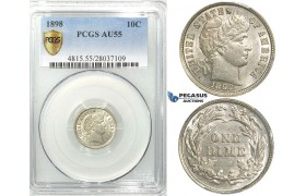 R527, United States, Barber Dime (10C.) 1898, Silver, PCGS AU55