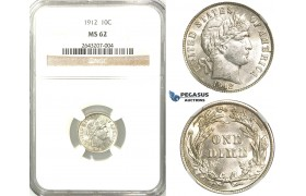 R529, United States, Barber Dime (10C.) 1912, Silver, NGC MS62