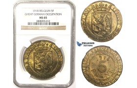 R804A, Belgium, Ghent (German Occupation) 5 Francs 1918, NGC MS65