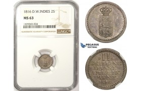 R806, Danish West Indies, 2 Skilling 1816, Silver, NGC MS63