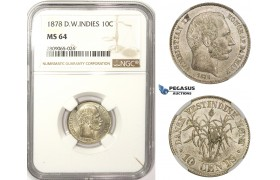 R807, Danish West Indies, Christian IX, 10 Cents 1878, Silver, NGC MS64