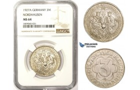 R808, Germany, Weimar, 3 Reichsmark (Nordhausen) 1927-A, Berlin, Silver, NGC MS64