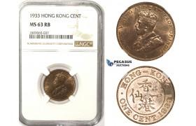 R811, Hong Kong, George V, 1 Cent 1933, NGC MS63RB
