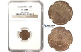 R812, India (British) Victoria, 1/12 Anna 1893 (C) Calcutta, NGC MS64RB