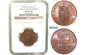 V36, Hungary, 1 Krajczar 1848, War of Independence, NGC MS63BN