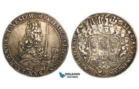 V73, Germany, Saxony, Friedrich August I, Taler 1697 IK, Dresden, Silver (28.78g) VF-XF with a strong toning! Rare!