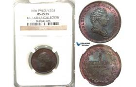 V81, Sweden, Carl XIV Johan, 2/3 Skilling banco 1836, Stockholm, NGC MS65BN (Pop 1/3, Finest), ex. Lissner, SM 156
