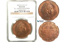 V89, Sweden, Oscar I, 4 Skilling banco 1849, Stockholm, NGC MS64RB (Pop 1/1, Finest) ex. Lissner, SM 71