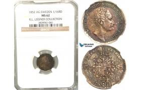V90, Sweden, Oscar I, 1/16 Rigsdaler specie 1852 AG, Stockholm, Silver, NGC MS62  ex. Lissner, SM 49