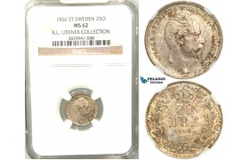 V92, Sweden, Oscar I, 25 Öre 1856 ST, Stockholm, Silver, NGC MS62 (Pop 1/3, Finest)  ex. Lissner, SM 63