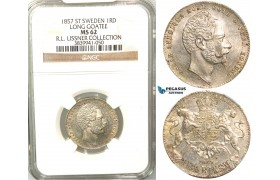 V94, Sweden, Oscar I, 1 RD. Riksm. 1857 ST, Stockholm, Silver, NGC MS62, ex. Lissner, SM 60