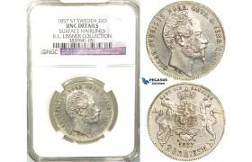 V95, Sweden, Oscar I, 2 RD. Riksm. 1857 ST, Stockholm, Silver, NGC UNC, ex. Lissner, SM 59