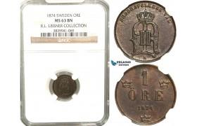 W02, Sweden, Oscar II, 1 Öre 1874, Stockholm, NGC MS63BN, ex. Lissner, SM 199