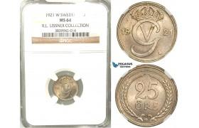 W11, Sweden, Gustaf V, 25 Öre 1921 W, Stockholm, NGC MS64, ex. Lissner, SM 108