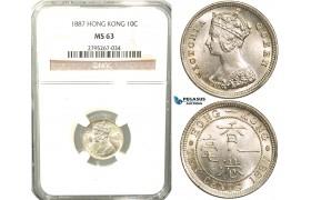 W44, Hong Kong, Victoria, 10 Cents 1887, London, Silver, NGC MS63