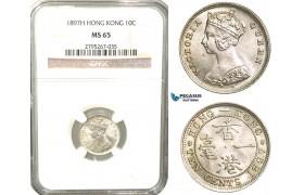 W45, Hong Kong, Victoria, 10 Cents 1897-H, Heaton, Silver, NGC MS65