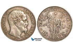 W72, Danish West Indies, Frederik VII, 10 Cents 1859, Altona, Silver, VF-XF, Nice toning!