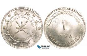 W73, Muscat & Oman, Sa'id bin Taimur Saidi Riyal AH 378 (1958) Silver, UNC (Minor bag marks)