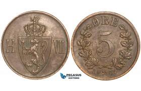 W75, Norway, Haakon VII, 5 Øre 1907, Kongsberg, AXF