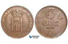 W76, Norway, Haakon VII, 5 Øre 1922, Kongsberg, VF-EF