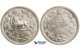 W78, Iran, Muzaffar al-Din Shah, 5000 Dinars SH1320 (1902) Silver, aUNC (Cleaned)