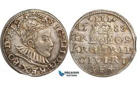 W79, Latvia, Sigismund III of Poland, 3 Groschen (Trojak) 1588, Riga, Silver (2.56g) Toned aXF