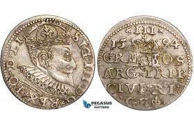W80, Latvia, Sigismund III of Poland, 3 Groschen (Trojak) 1594, Riga, Silver (2.30g) Toned VF-XF