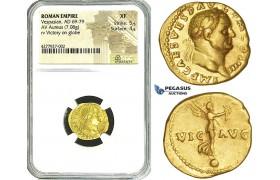 ZE65, Roman Empire, Vespasian (69-79 AD) AV Aureus (7.08g) Rome, 72-73 AD, Victory, NGC XF (Lustrous!)