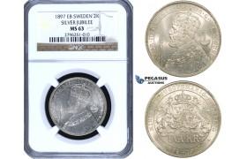 ZF13, Sweden, Oscar II, 2 Kronor 1897 EB (Silver Jubilee) Stockholm, Silver, NGC MS63