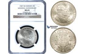 ZF14, Sweden, Oscar II, 2 Kronor 1907 EB (Wedding Anniversary) Stockholm, Silver, NGC MS65