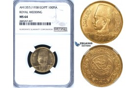 ZG60, Egypt, Farouk, 100 Piastres AH1357/1938 (Royal Wedding) Gold, NGC MS64