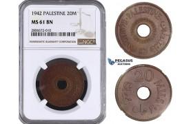 ZL21, Palestine, 20 Mils 1942, London, NGC MS61BN