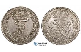 ZM111, Denmark, Frederik III, Krone (4 Mark) 1666 GK, Silver (22.14g) Hede --, Toned VF-EF
