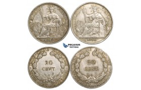 ZM121, French Indo-China, 20 Centimes Lot: 1914 & 1916-A, Paris, Silver, EF-AU